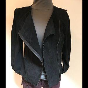 Blank NYC EUC suede/knit assymetrical Moto jacket